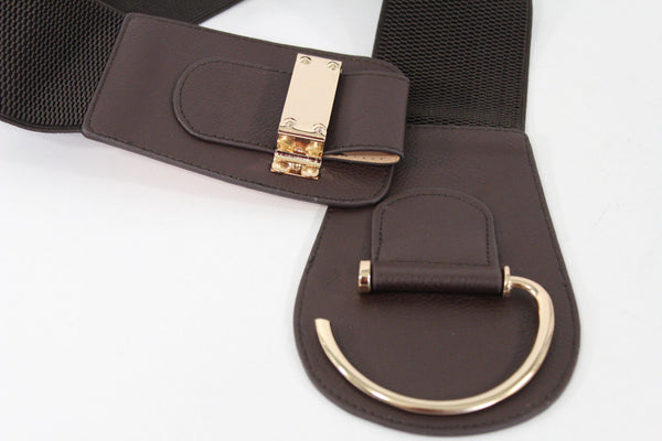 Blue Navy Blue Red White Pink Green Turquize Black Brown Dark Brown Beige Gold Faux Leather Hip Waist Elastic Belt Big Gold Hook Buckle New Women Fashion Accessories Plus Size - alwaystyle4you - 79