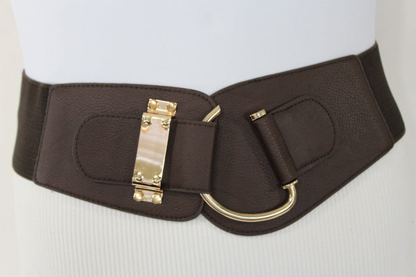 Blue Navy Blue Red White Pink Green Turquize Black Brown Dark Brown Beige Gold Faux Leather Hip Waist Elastic Belt Big Gold Hook Buckle New Women Fashion Accessories Plus Size - alwaystyle4you - 80