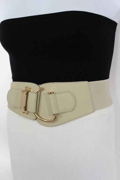 Blue Navy Blue Red White Pink Green Turquize Black Brown Dark Brown Beige Gold Faux Leather Hip Waist Elastic Belt Big Gold Hook Buckle New Women Fashion Accessories Plus Size - alwaystyle4you - 81