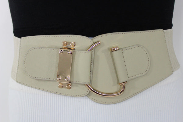 Blue Navy Blue Red White Pink Green Turquize Black Brown Dark Brown Beige Gold Faux Leather Hip Waist Elastic Belt Big Gold Hook Buckle New Women Fashion Accessories Plus Size - alwaystyle4you - 84