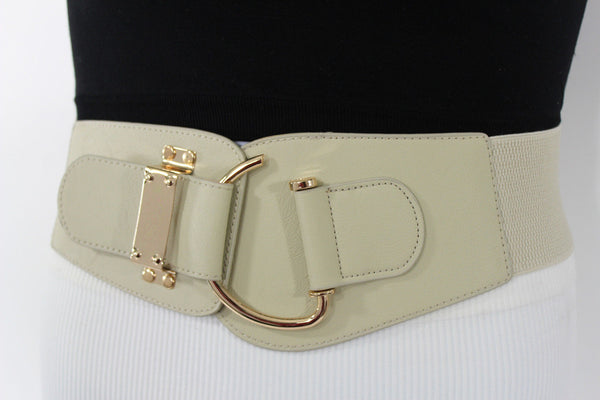 Blue Navy Blue Red White Pink Green Turquize Black Brown Dark Brown Beige Gold Faux Leather Hip Waist Elastic Belt Big Gold Hook Buckle New Women Fashion Accessories Plus Size - alwaystyle4you - 85