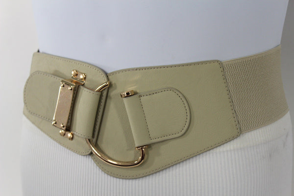 Blue Navy Blue Red White Pink Green Turquize Black Brown Dark Brown Beige Gold Faux Leather Hip Waist Elastic Belt Big Gold Hook Buckle New Women Fashion Accessories Plus Size - alwaystyle4you - 89