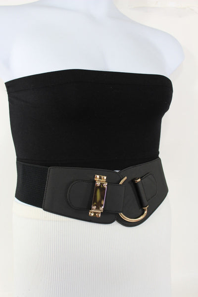 Blue Navy Blue Red White Pink Green Turquize Black Brown Dark Brown Beige Gold Faux Leather Hip Waist Elastic Belt Big Gold Hook Buckle New Women Fashion Accessories Plus Size - alwaystyle4you - 91