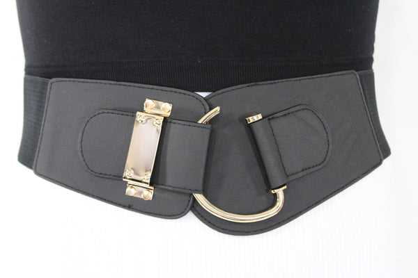 Blue Navy Blue Red White Pink Green Turquize Black Brown Dark Brown Beige Gold Faux Leather Hip Waist Elastic Belt Big Gold Hook Buckle New Women Fashion Accessories Plus Size - alwaystyle4you - 92