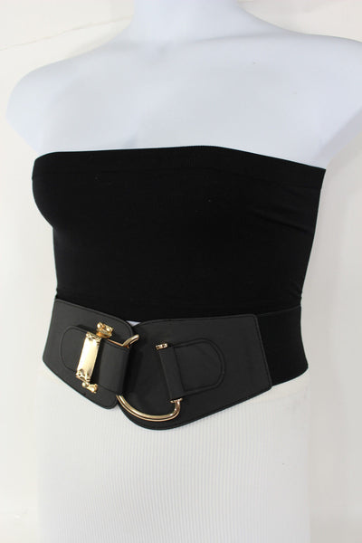 Blue Navy Blue Red White Pink Green Turquize Black Brown Dark Brown Beige Gold Faux Leather Hip Waist Elastic Belt Big Gold Hook Buckle New Women Fashion Accessories Plus Size - alwaystyle4you - 93