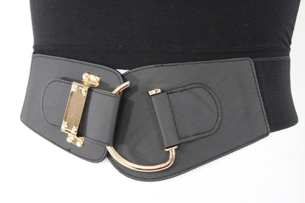 Blue Navy Blue Red White Pink Green Turquize Black Brown Dark Brown Beige Gold Faux Leather Hip Waist Elastic Belt Big Gold Hook Buckle New Women Fashion Accessories Plus Size - alwaystyle4you - 94