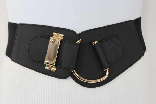 Blue Navy Blue Red White Pink Green Turquize Black Brown Dark Brown Beige Gold Faux Leather Hip Waist Elastic Belt Big Gold Hook Buckle New Women Fashion Accessories Plus Size - alwaystyle4you - 95
