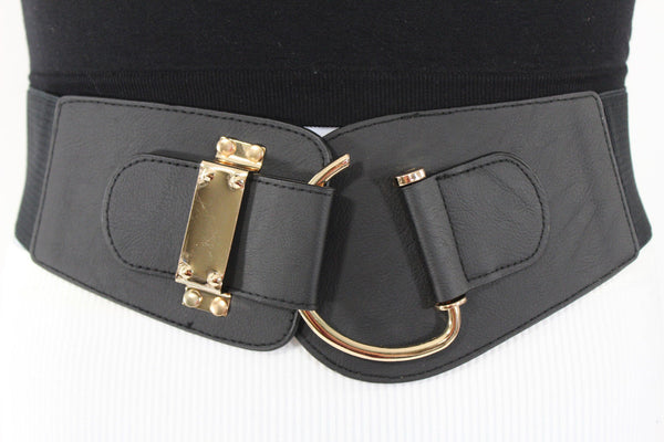 Black Red Gold Faux Leather Elastic Belt Big Gold Hook Buckle Women Accessories S-M