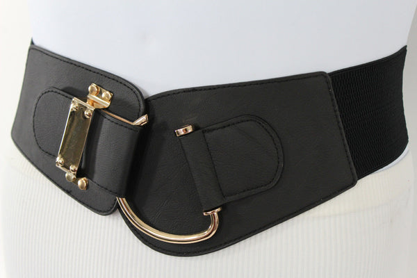 Blue Navy Blue Red White Pink Green Turquize Black Brown Dark Brown Beige Gold Faux Leather Hip Waist Elastic Belt Big Gold Hook Buckle New Women Fashion Accessories Plus Size - alwaystyle4you - 97