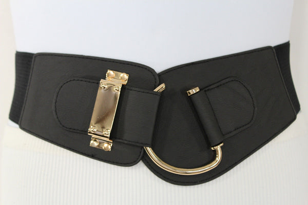 Blue Navy Blue Red White Pink Green Turquize Black Brown Dark Brown Beige Gold Faux Leather Hip Waist Elastic Belt Big Gold Hook Buckle New Women Fashion Accessories Plus Size - alwaystyle4you - 98