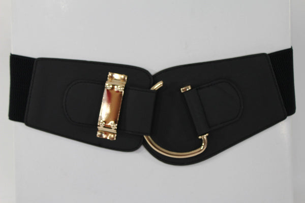 Blue Navy Blue Red White Pink Green Turquize Black Brown Dark Brown Beige Gold Faux Leather Hip Waist Elastic Belt Big Gold Hook Buckle New Women Fashion Accessories Plus Size - alwaystyle4you - 99