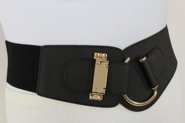 Blue Navy Blue Red White Pink Green Turquize Black Brown Dark Brown Beige Gold Faux Leather Hip Waist Elastic Belt Big Gold Hook Buckle New Women Fashion Accessories Plus Size - alwaystyle4you - 100