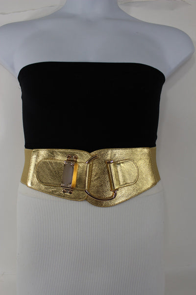 Blue Navy Blue Red White Pink Green Turquize Black Brown Dark Brown Beige Gold Faux Leather Hip Waist Elastic Belt Big Gold Hook Buckle New Women Fashion Accessories Plus Size - alwaystyle4you - 103