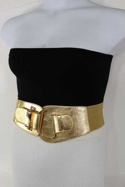 Blue Navy Blue Red White Pink Green Turquize Black Brown Dark Brown Beige Gold Faux Leather Hip Waist Elastic Belt Big Gold Hook Buckle New Women Fashion Accessories Plus Size - alwaystyle4you - 107