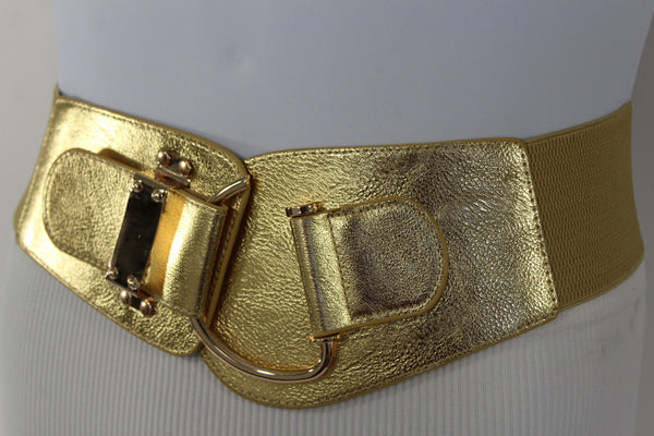 Blue Navy Blue Red White Pink Green Turquize Black Brown Dark Brown Beige Gold Faux Leather Hip Waist Elastic Belt Big Gold Hook Buckle New Women Fashion Accessories Plus Size - alwaystyle4you - 108