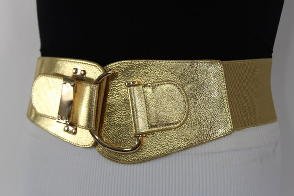 Blue Navy Blue Red White Pink Green Turquize Black Brown Dark Brown Beige Gold Faux Leather Hip Waist Elastic Belt Big Gold Hook Buckle New Women Fashion Accessories Plus Size - alwaystyle4you - 12