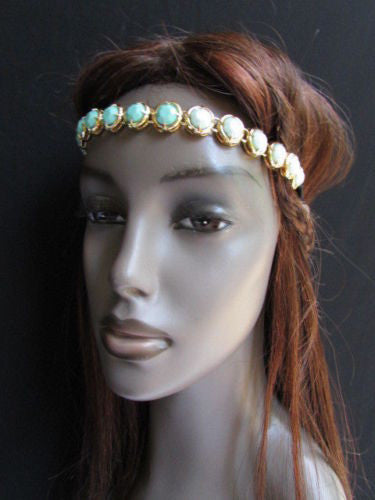 Elastic Head Chain Silver Cream Black White Blue Teal Beads Hair Piece Jewelry Women Wedding Accessories