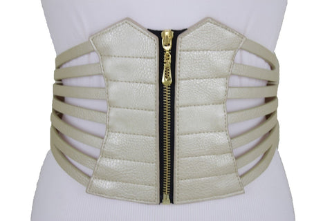 Champagne Corset Belt Fun Women Hip Waist Wide Metallic Gold Faux Leather Elastic L XL XXL