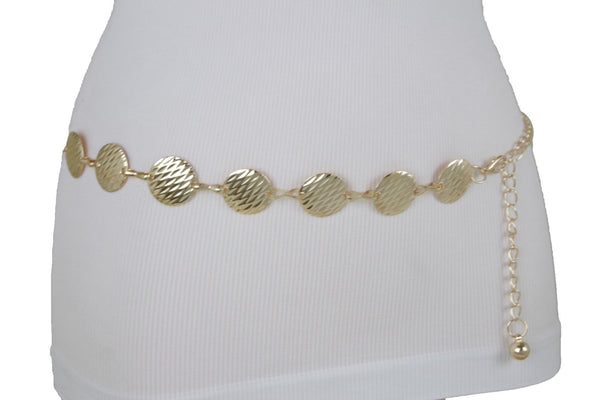 Gold Metal Links Chain Narrow Belt Round Circle Charms Unique New Women Fashion Accessories S-L