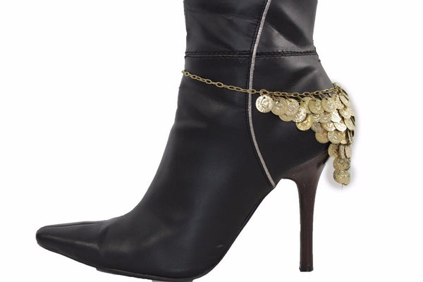 Gold Metal Boot Bracelet Chain Anklet Shoe Coins Charm Multi Strands Thick Boot Hot Chain New Fun Women Western Fashion Accessories