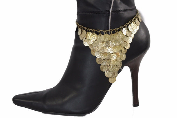 Gold Metal Boot Bracelet Chain Anklet Shoe Coins Charm Multi Strands Thick New Women Accessories