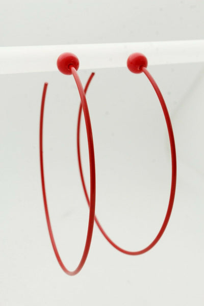 Fun Women Fashion Jewelry Earrings Set Huge Hoop Red Color Metal Sexy Party Club