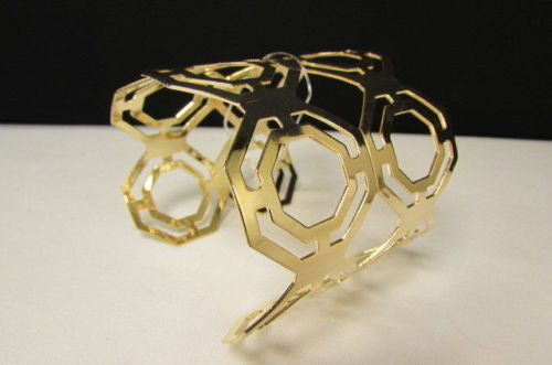 Gold / Silver Thin Metal Hand Cuff Bracelet Geometric Shapes New Women Fashion Jewelry Accessories - alwaystyle4you - 3