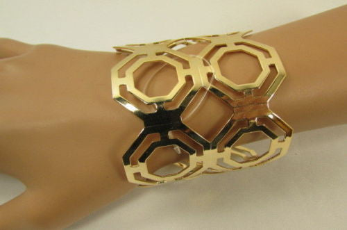 Gold / Silver Thin Metal Hand Cuff Bracelet Geometric Shapes New Women Fashion Jewelry Accessories - alwaystyle4you - 4