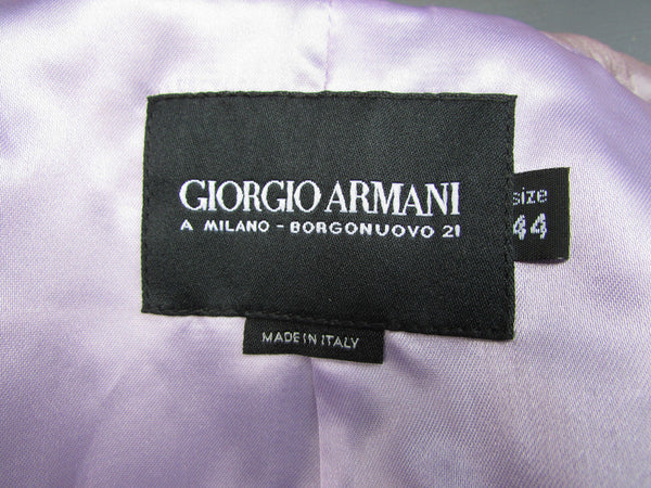 Light Purple Lavander Lambskin Leather Jacket Giorgio Armani Women Fashion American 10 Italian 44
