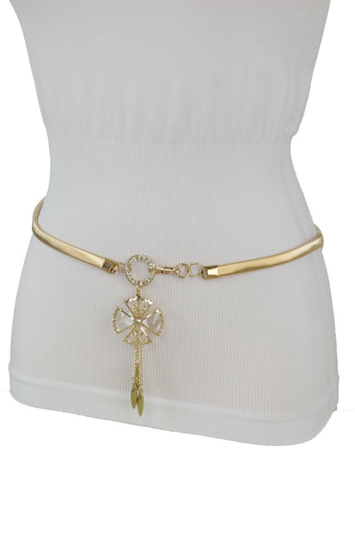 Gold Metal Stretch Waistband Narrow Women Fashion Belt Flower Bling Buckle S M L