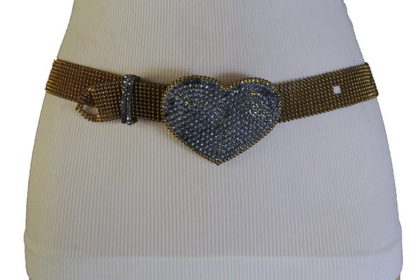 Gold Antique Rusty Mesh Metal Red Blue Pink Green Heart Love Buckle Belt Women Accessories M