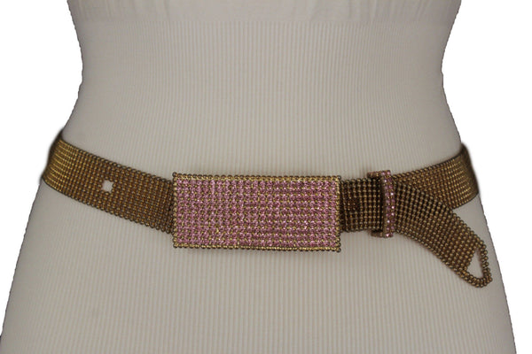 Gold Mesh Metal Red Lavender Pink Green Rectangular Plate Buckle Belt Women Accessories M