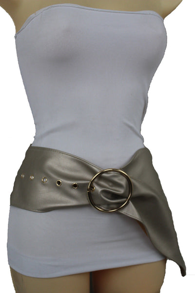 Beige Black Gold Champagne Extra Wide Faux Leather Long Belt Gold Metal Buckle Accessories S M