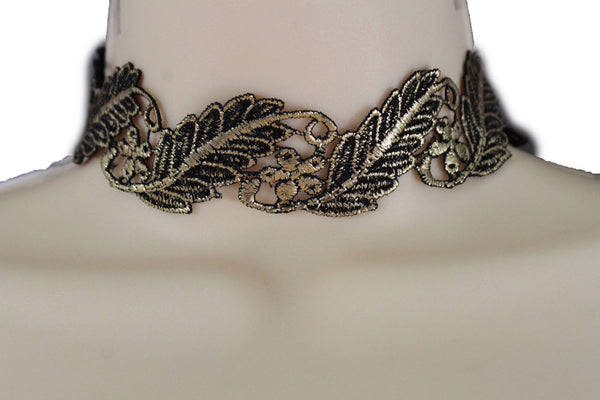Gold Black Wide Long Leaves Flower Choker Necklace New Women Chunky Hip Hop Fashion Jewelry Accessories
