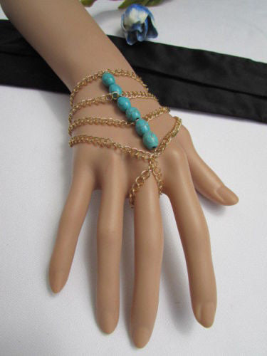 Gold Chains Bracelet Salve Ring Multi Strands Sky Blue & Red Six Big Beads New Women Fashion Chunky Style Accessories
