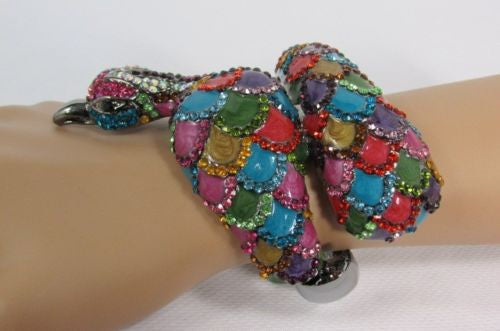 Gold Cuff Metal Bracelet Big Bird Peacock Feathers Red Gold Black Blue Multi Colors Beads Women Accessories