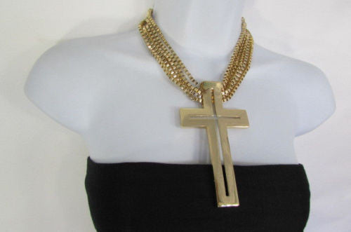Gold Metal Dangle Chain Links Choker Necklace Large Cross New Women Fashion Accessories