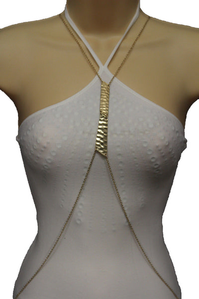 Gold Double Metal Plate Body Chains Long Necklace Jewelry Beach Harness Bikini Basic New Women Accessories