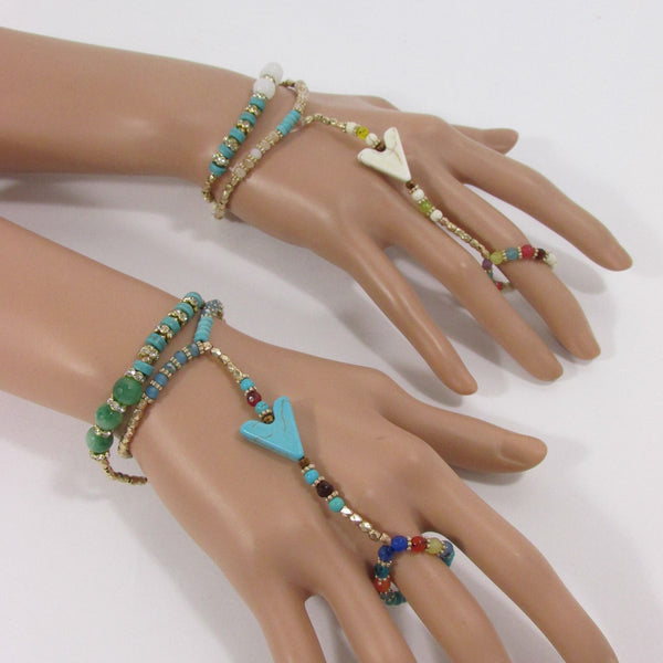 Gold Hand Chain Bracelet Elastic Connected Finger Slave Ring Turquoise Blue Or White Arrow Colors Beads Wedding New Women Classic Fashion Accessories