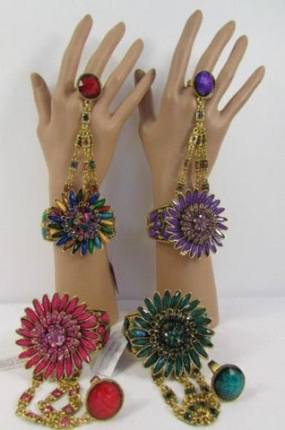 Gold Hand Chain Cuff Bracelet Slave Big Round Ring Big Pink Green Purple Black Flower Beads New Women Fashion Accessories