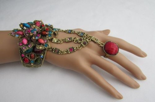 Gold Hand Chain Cuff Bracelet Slave Big Round Ring Big Pink Red Brown Purple Black Flower Beads New Women Fashion Accessories