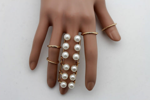Gold Ivory Metal 5 Rings Set Band Imitation Pearl Beads Ring New Women Stylish Jewelry Accessories