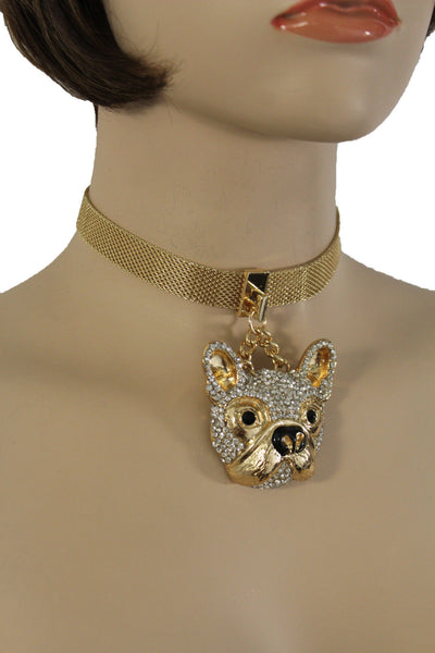 Gold Mesh Metal Charm Dog Pet Pendant Choker Necklace Hip Hop Sexy New Women Fashion Accessories