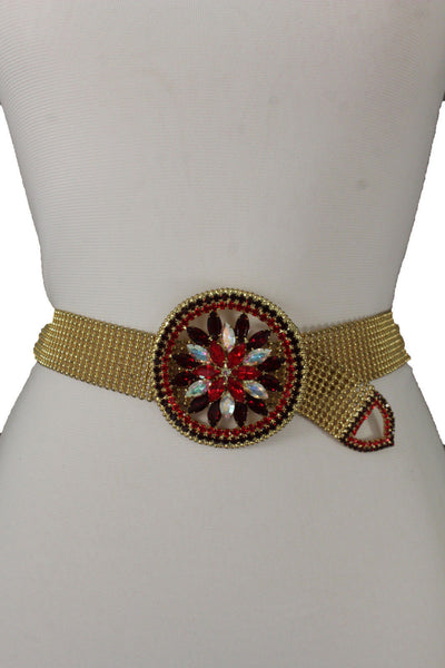 Gold Mesh Metal Wiast Belt Big Green Red Blue Purple Round Flower Buckle Women Fancy Accessories S M