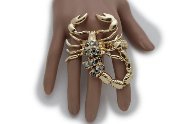 Gold Silver Metal 2 Fingers Big Scorpion Black Blue Rhinestones Elastic Band Ring Women Accessories