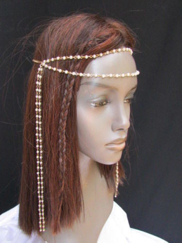 Gold Metal 80'S Stylish Long Head Chain Lightweight Imitation Pearls Beads Women Accessories
