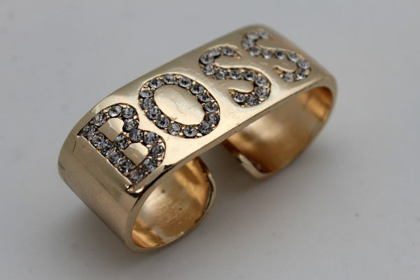 Gold Metal BOSS  2 Fingers Silver Rhinestones Wide Band Ring Women Trendy Fashion Accessories