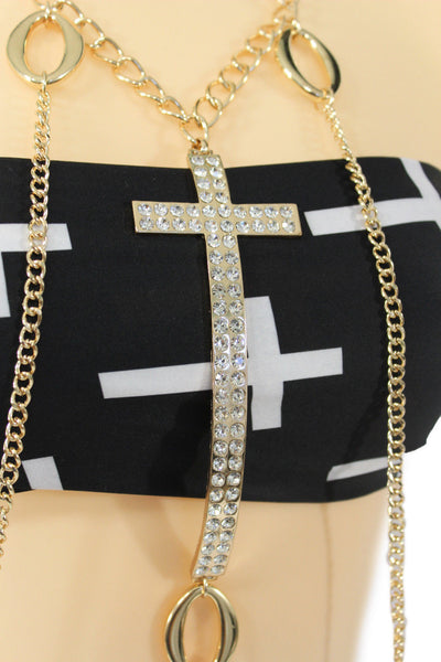 Gold Metal Body Chain Big Rhinestones Cross Harness Bikini Long Necklace Women Accessories