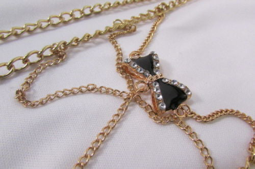 Gold Metal Body Chain Multi Wave Black Or Pink Mini Bow Pendant New Women  Jewelry Accessories