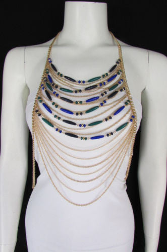 Gold Metal Body Chain Long Necklace Blue Beads Jewelry New Women Fashion Accessories